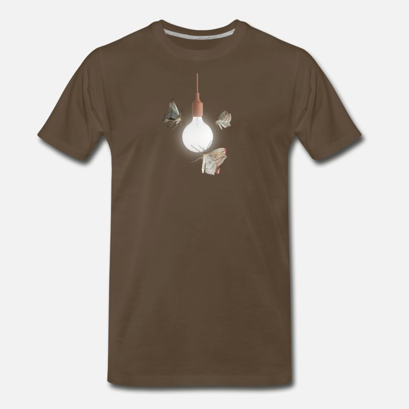Moth Attracted To Light Bulb T-Shirt - Funny Cool Men's Premium T-Shirt -  noble brown