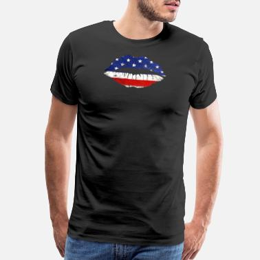 Tongue Lips Kiss USA 4th Of July - Men's Premium T-Shirt