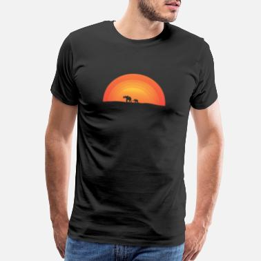 Savanna Elephant Baby African Savanna Sunset Wildlife Cute - Men's Premium T-Shirt