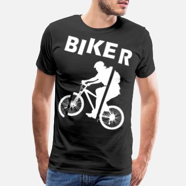 Mountain Biking Broken biker cyclist cycling hobby - Men's Premium T-Shirt
