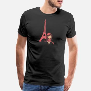 Tower French Girl & Eiffel Tower Proud France French - Men's Premium T-Shirt