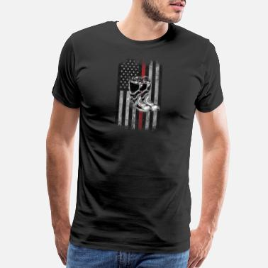 Activism Fire fighter boots American Flag Thin Red Line - Men's Premium T-Shirt