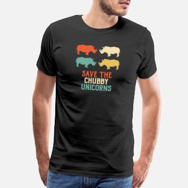 Funny Rhino Save the chubby Unicorns Vintage Gift Wildlife - Men's Premium T-Shirt