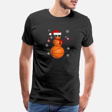 Basketball Mom Funny Christmas Basketball Snowman Santa Hat Gift - Men's Premium T-Shirt