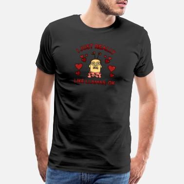 Drama I Just Really Like Llamas OK Valentines Day - Men's Premium T-Shirt