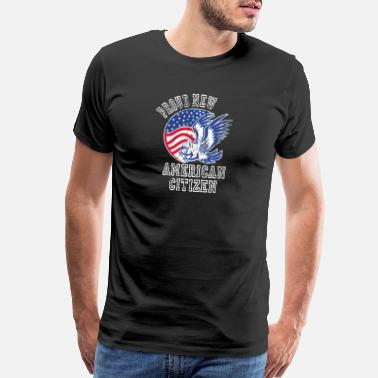Red White Blue Stripe Proud New American Citizen Naturalized America - Men's Premium T-Shirt