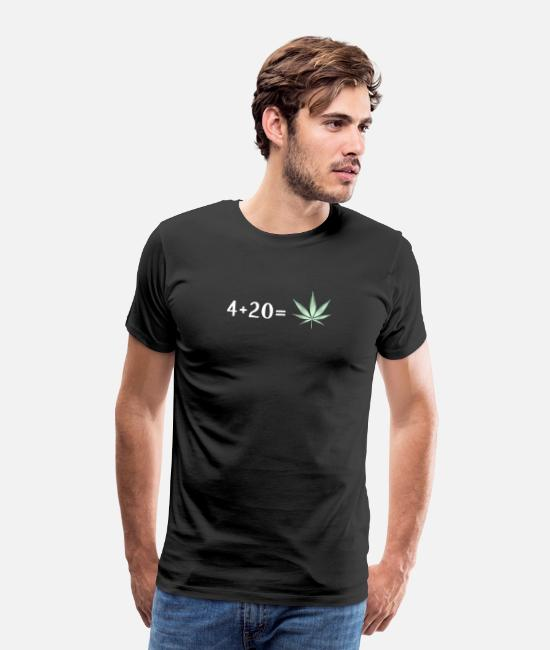 Hemp T-Shirts - 4 + 20 is Cannabis Lover Stoners Birthday Gift - Men's Premium T-Shirt black