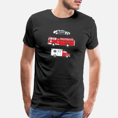 Kids Kids Cute Children s Fire Truck Police Car Ambulan - Men's Premium T-Shirt