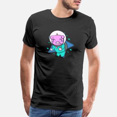 Space Suit Space Galaxy Flying Pig Boars Animal I Gift Idea - Men's Premium T-Shirt