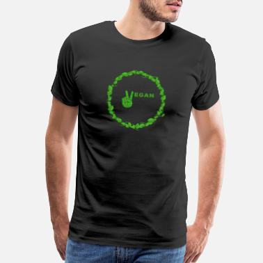Ethical Vegan Peace Inside Ring Of Leaves - Men's Premium T-Shirt