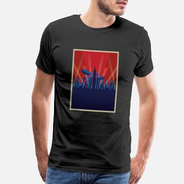 Wallpaper Artdeco - City - Lights - Zeppelin - vintage,retro - Men's Premium T-Shirt