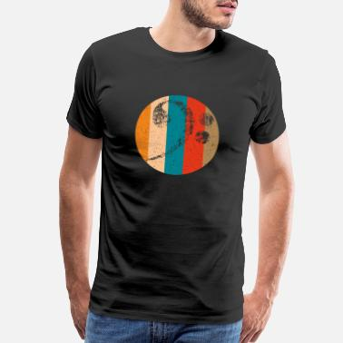 Bass Guitar Teacher bass clef in vintage color circle - Men's Premium T-Shirt