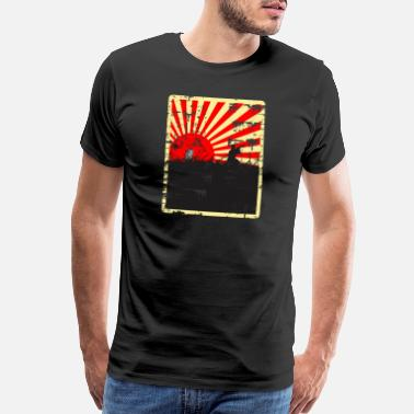 Japanese Sun Rising Sun Samurai Distressed Design - Men's Premium T-Shirt