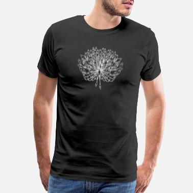 Flowercontest Black and White Plant Artwork Flower Sketch - Men's Premium T-Shirt