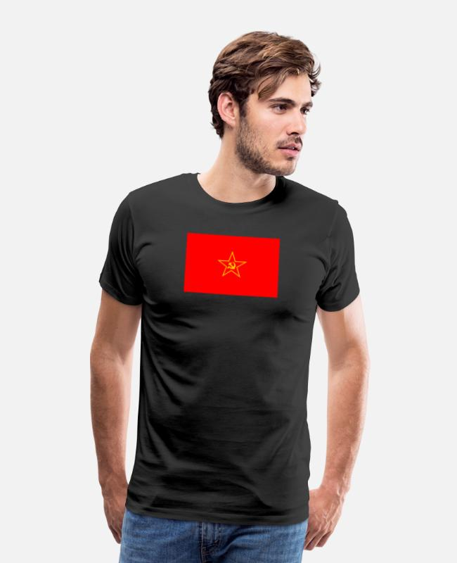 Hammer T-Shirts - Communist Flag - Men's Premium T-Shirt black