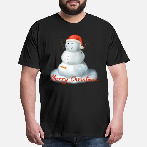 263954a47 Evil Horny Snowman Santa Hat Merry Christmas - Men s Premium T-Shirt. Back.  Back. Design. Front. Front