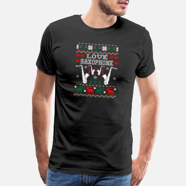 Saxophone Cool Sayings i love saxophone christmas ugly sweater tshirt - Men's Premium T-Shirt