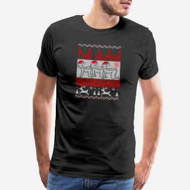 Right the human santapede ugly christmas sweater xmas - Men's Premium T-Shirt