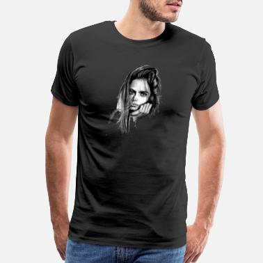Pencil Sketch Cara Delevingne Artwork pencil sketch - Men's Premium T-Shirt
