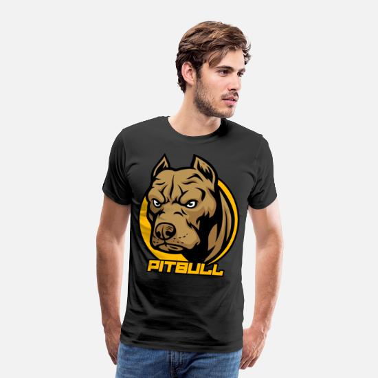 Animal Lover T-Shirts - Pitbull Face Cool Pitties Pet Owners Doggie Dog - Men's Premium T-Shirt black