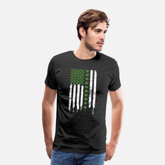Birthday T-Shirts - St Patricks Day Gift Irish Shamrock American Flag - Men's Premium T-Shirt black