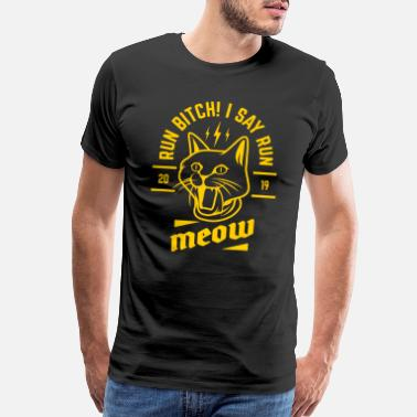 Yellow Cat Say Run Meow 2019 Yellow Funny Gift - Men's Premium T-Shirt