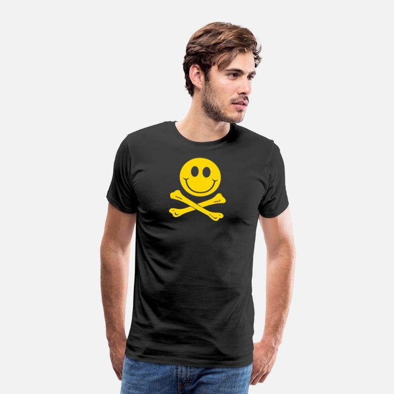 Couples T-Shirts - Smiley Pirate Skull and Crossbones - Men's Premium T-Shirt black