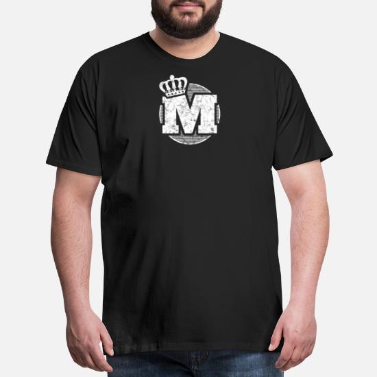 Name Letter M Character Case Alphabetical Crown Men's Premium T