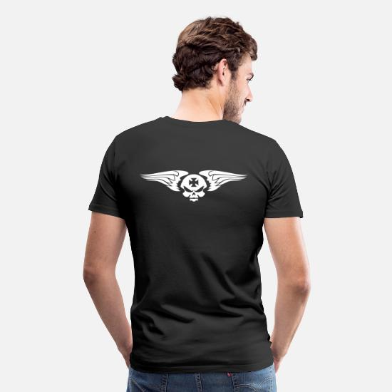 Skull T-Shirts - skull wings and Maltese cross - Men's Premium T-Shirt black