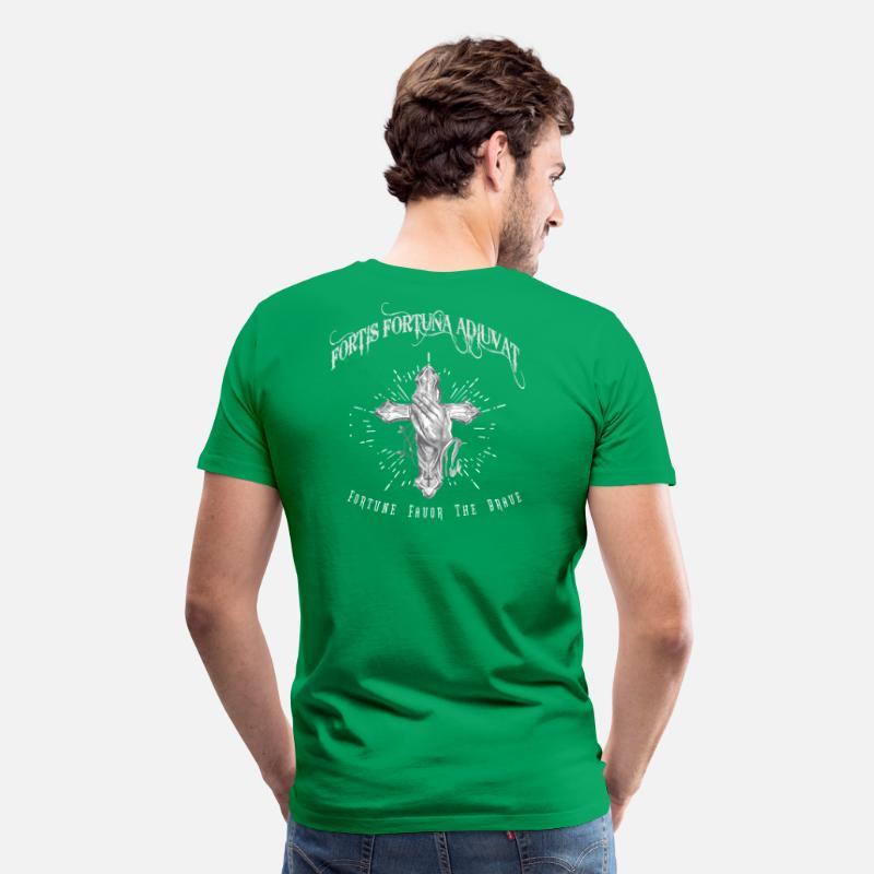 09aeb70e Fortis Fortuna Adiuvat - Cross and Hand Tattoo Men's Premium T-Shirt    Spreadshirt