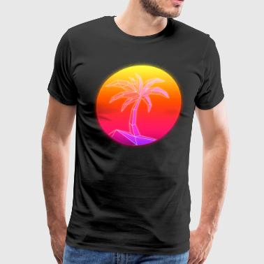 Sunset Palmtree, 80's Style - Men's Premium T-Shirt