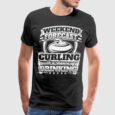 Weekend Forecast Curling Drinking Tee - Men's Premium T-Shirt