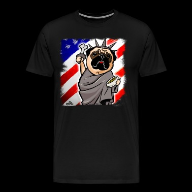 Independence Day Pug Funny pug dog who seems to be - Men's Premium T-Shirt