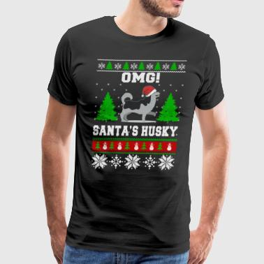OMG! Santa's Husky, Best Shirt For Husky Lover - Men's Premium T-Shirt