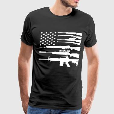 Gun American Flag Patriotic USA Flag - Men's Premium T-Shirt