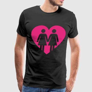 Lesbians In Love Heart LGBT Equality Gay - Men's Premium T-Shirt
