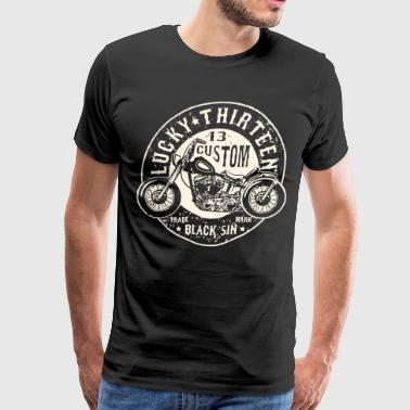 LUCKY 13 BLACK SIN MOTORCYCLE CHOPPER ROCK - Men's Premium T-Shirt