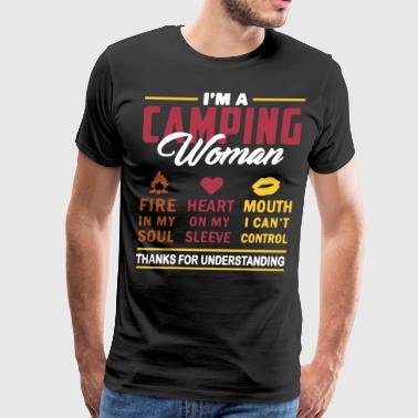 i'm a camping woman fire in my soul heart on my sl - Men's Premium T-Shirt