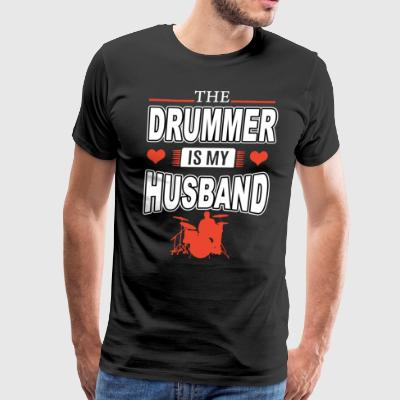 The drummer is my husband - Men's Premium T-Shirt