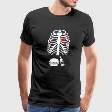 Mens Beer Hamburger Skeleton Pregnancy Costume - Men's Premium T-Shirt