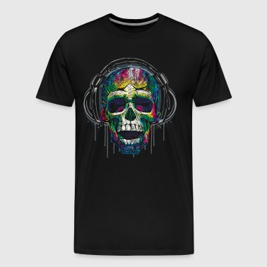 Dripping Skull Headphones - Men's Premium T-Shirt
