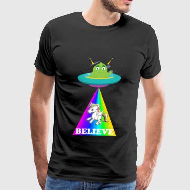 Believe Alien Unicorn - Men's Premium T-Shirt
