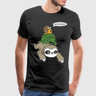 Sloth Turtle and Snail Piggyback Funny Running - Men's Premium T-Shirt