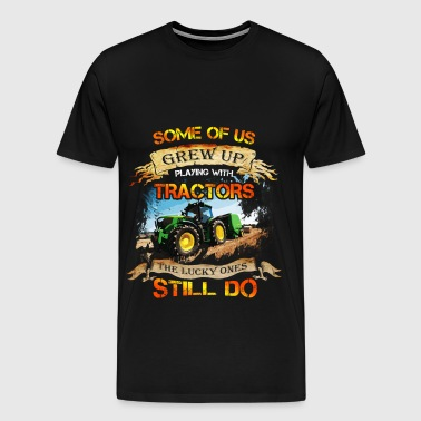Tractor driver T-shirt - Grew up with tracktors - Men's Premium T-Shirt