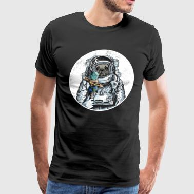Dog Astronaut Outer Space Moon Icecream Bulldog - Men's Premium T-Shirt