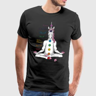 Meditating Yoga Unicorn Seven Chakras - Men's Premium T-Shirt