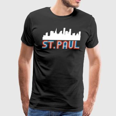Red White Blue St. Paul Minnesota Skyline - Men's Premium T-Shirt