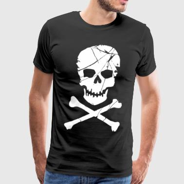Skull and Crossbones Pirate Neon - Men's Premium T-Shirt