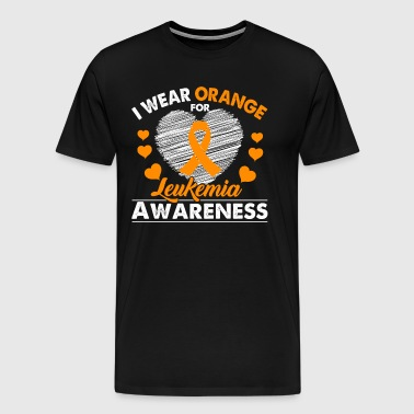 I Wear Orange Leukemia Cancer Awareness Ribbon - Men's Premium T-Shirt