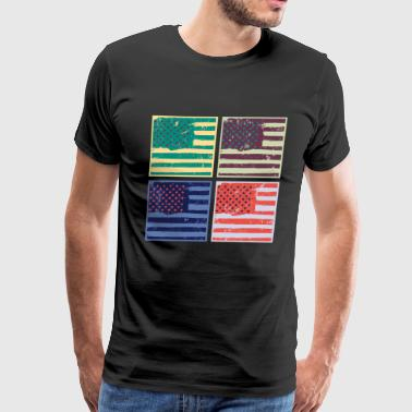 Flag Pop Art Warhol Style America USA Gift - Men's Premium T-Shirt